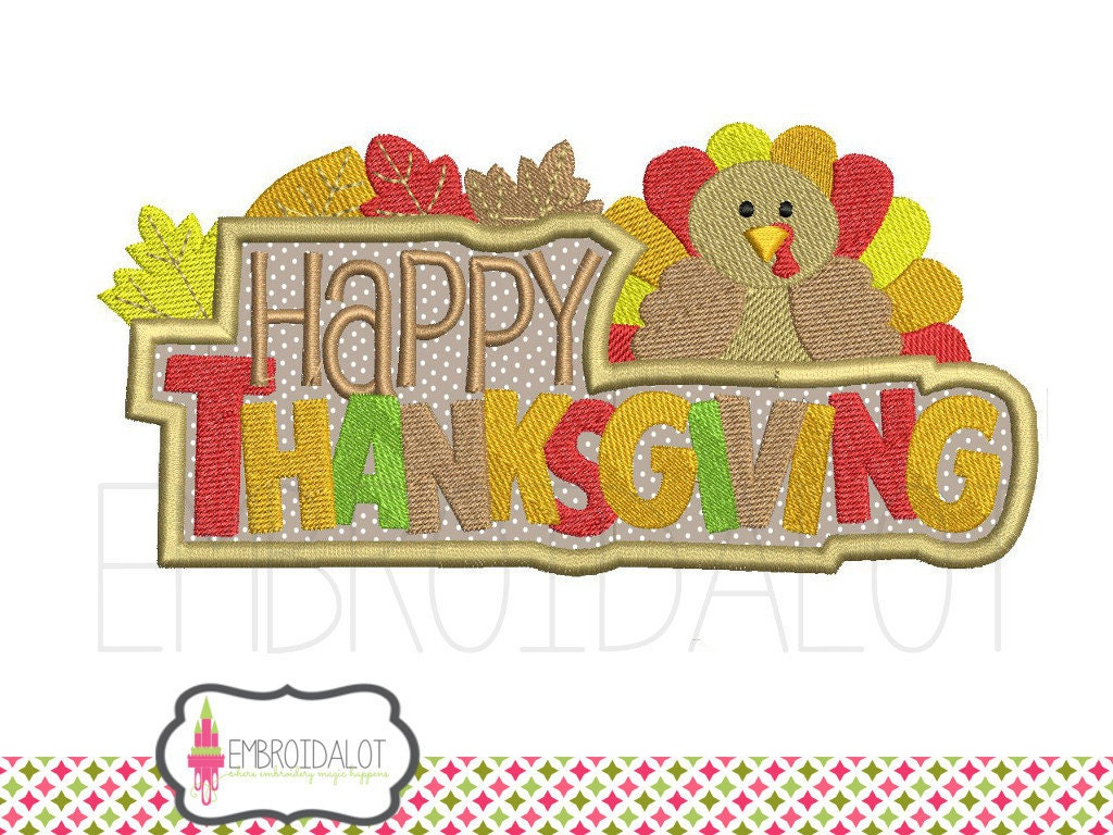 Thanksgiving machine embroidery design happy