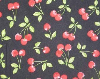 "RED CHERRY ROCKABILLY Pattern Fabric, Cotton Fabric ,18"" X 44"", 1/2  Yard, New, Rare"