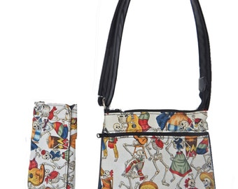 "A Cross Body Bag & A Matching Wallet With "" DAY Of The DEAD"" Gothic Halloween Pattern, Cotton, New , (Only 2 Items)"