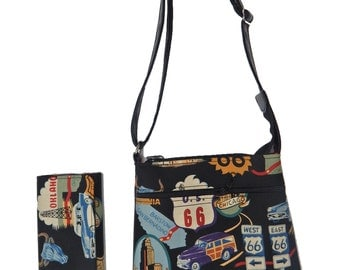 "A Cross Body Bag and   A Matching Wallet With ""ROUTE 66"" Pattern, Cotton, New , (only 2 Items)"