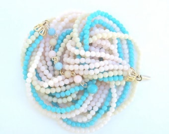 Necklace, Aqua, Pink, Tan, Celluloid Beads, Vintage