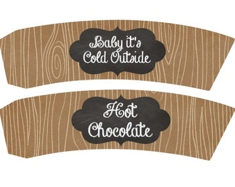 Hot Chocolate Cup Sleeve Printables Woodgrain Printable Woodgrain Hot Chocolate Printable Cup Sleeve