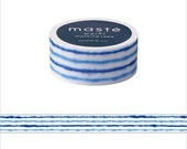 Mark's Japanese Washi Masking Tape - Japan Series / Blue Water Waves 15mm wide for packaging, party deco, crafting