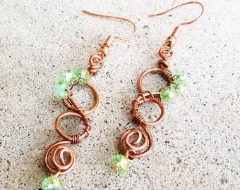 Green Crystal Copper Swirl Earrings Wire-wrapped Handmade Dangle Beaded Earrings By Distinctly Daisy