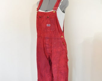 Red Teen Small Bib OVERALL Pants - Red Dyed Upcycled Big Smith Cotton Denim Overalls - Adult Women Juniors Size Small (34W X 25L)