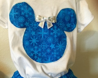 Deep blue snowflakes girls twirly skirt & shirt set perfect for Disney, birthday parties, and photo ops