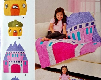 Castle Rag Quilt Pattern, Acorn House Rag Quilt Pattern, Simplicity Sewing Pattern 8033