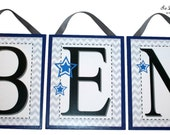 NEW!! 8 x 10 Hanging letter plaques - Aris Collection - Gray and White Chevron - Navy Blue - Dark Blue- Guitars, Stars, Chevron, Rockstar