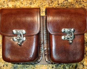 Moulded Leather Belt Pouch (double pockets)
