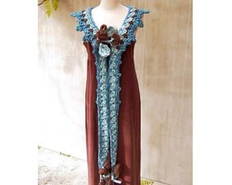 Boho long scarf freeform crochet rustic wool wrap plus size tufted garnishee OOAK