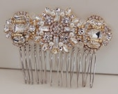 Gold Plated Vintage Inspired Bridal Crystal Hair Comb Brooch
