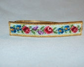 Vintage / Needlepoint / Roses / Hair Clip / Metal / Gold Tone / Barrette / old jewelry / jewellery