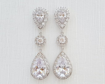 Wedding Earrings Bridal Jewelry Large Clear Cubic Zirconia Teardrop Bridal Earrings Wedding Jewelry Crystal Wedding Earrings, Penelope