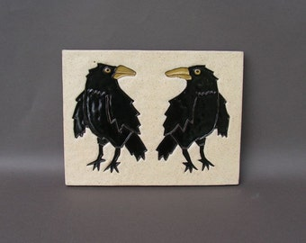 A Pair of Crows, Looking Askance at Each Other (On a Hanging Stoneware Tile)