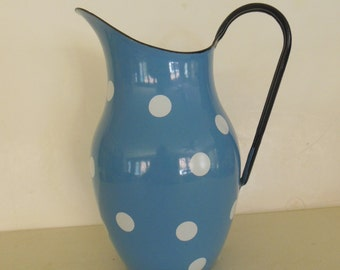 Vintage Enamelware Pitcher, Blue, White Dots