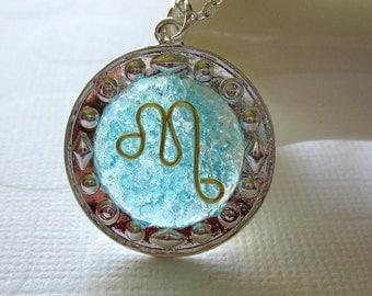 Scorpio Necklace Blue Topaz Pendant Necklace Star Sign Scorpio Jewelry Horoscope Necklace Gold Wire Necklace Scorpio Citrine Birthstone