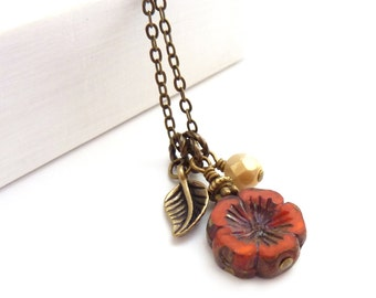 Orange Red Charm Necklace - Hawaiian Glass Picasso Flower - Bronze Leaf - Rustic Jewelry - Boho Necklace - Gift for Her