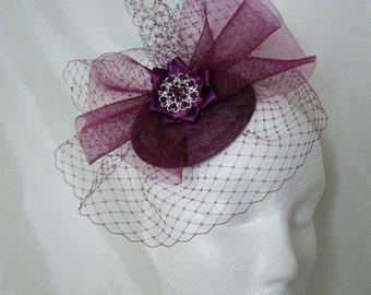 Amethyst Plum Elizabeth Blusher Veil & Crinoline Bow Fascinator Mini Hat - Made to Order
