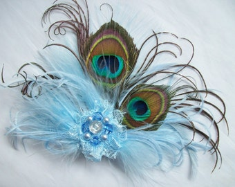 Small and Dainty Pale Sky Blue Peacock Feather & Pearl Vintage Hair Clip Fascinator or Vintage Style Flapper Band