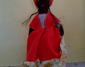 Black Mammy Doll Vintage Cloth Doll Antigua Basket Doll Vintage Black Doll in Ethnic Dress Costume