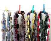 Crochet infinity scarf necklaces, infinity yarn necklaces, mixed fiber fluff scarf, Art Yarn Scarf