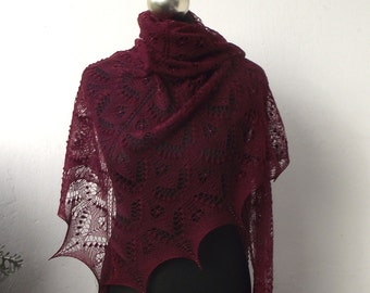 15% OFF Cherry  hand knitted lace shawl with beads and nupps