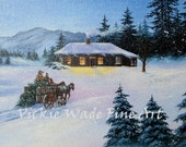 Cowboy Christmas Tree Original Oil Painting 8X10, winter, wagon, horses, western, cabin, snow, dad, son, Vickie Wade Art
