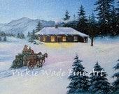 Cowboy Christmas Tree Original Oil Painting 8X10, winter, wagon, horses, western, cabin, snow, dad, son, Vickie Wade Art