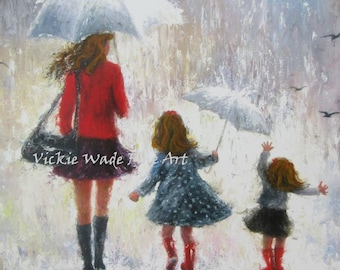 Mother and Two Daughters Art Print, redheads, two girls, mothers day gift, wall art, two sisters, umbrellas, red, mom, Vickie Wade art