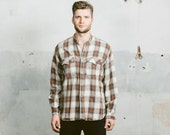 Vintage 90s Shadow PLAID Shirt . Men's Collarless Grandad Collar Brown White Oversized Shirt PEASANT Hippie Top Boyfriend Gift . Large