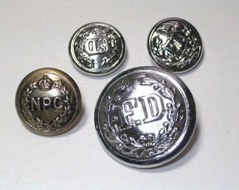 Vintage NPC and Fire Department Buttons All Backmarked Buttons