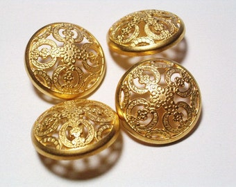 6 Gold Color Metal Buttons Filigree Style Italian Buttons 21mm Set Shank Buttons