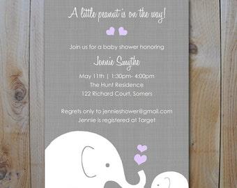 Elephant Baby Shower Invitation / Little Peanut Elephant Purple Lavendar / PRINTABLE  INVITATION / #10265