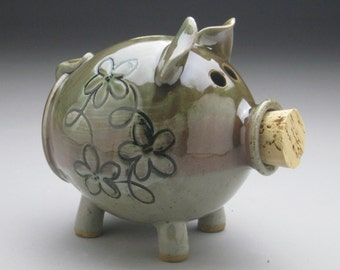 Ceramic Piggy Bank with Whimsical Flower Design - Made to Order