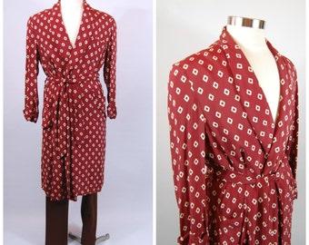 1940s Mens Rayon Robe - Burgundy Rayon Robe - 40s Rayon Robe - Smoking Jacket