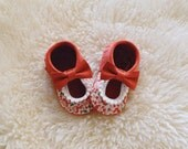 Baby Moccs Limited Edition Red leather + Floral Baby Moccasins