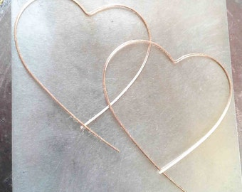 Heart Hoop Earrings, Big Heart Hoops, Open Heart Threaders, Rose Gold Hoop, Rose Gold Threader Earrings, Minimalist Earrings, Modern Hoops