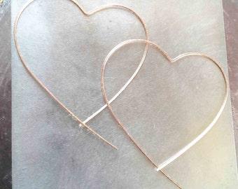 Big Open Heart Rose Gold Hoop Earrings, Lightweight Wire Threader Earrings, Minimalist Earrings, Boho Earrings, Boho Jewelry, Modern Hoops