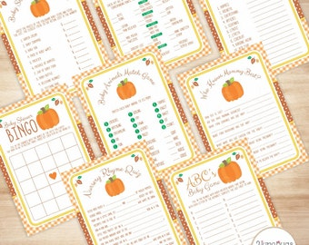 Shower Games Package Fall Baby Shower Games Package, Pumpkin Baby Shower Games Package, Baby Shower Game Package for Fall Shower Game Pack