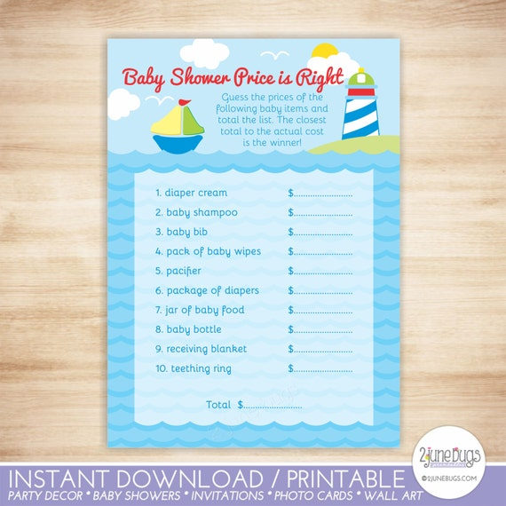 Sailboat Price Is Right Baby Shower Game Sailboat Baby