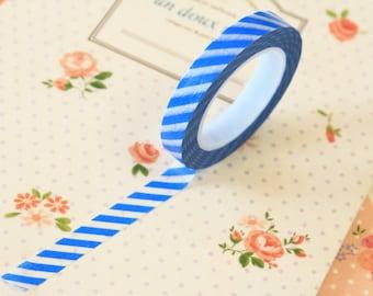 Blue Stripes Thin Washi Masking Tape