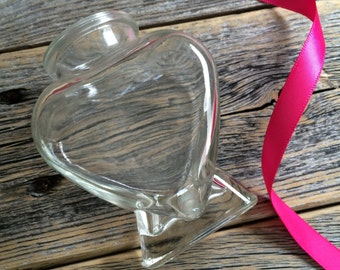 Glass Heart Shaped Pen Holder - Customized w/ Ribbon Rhinestones Buttons Flowers - RESERVED ONLY for those who purchase a pen