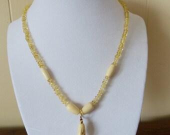 Citrine, bone, ocean amber beaded necklace