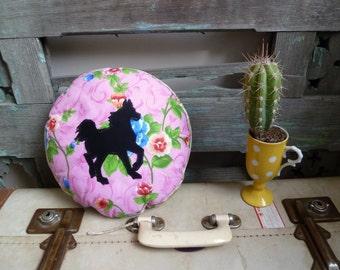Horse Silhouette, Boho, Applique Round Cushion, OOAK Statement Cushion, Throw Pillow, Child's Cushion, Handmade Cushion