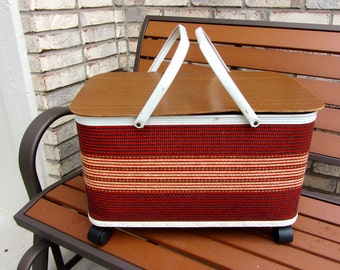 REDUCED! Vintage RED-MAN? Wicker Rolling Picnic Basket Large Handles Wheeled so it Rolls! Two Tone Deep Red Brown and Tan