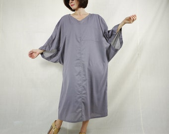 Boho Casual Elegant Plus Size /4 Sleeve Drop Shoulder V Neck Azo Free Color Lilac Grey Light Cotton Dress With Lining - SM688