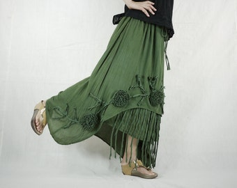 Plus Size Funky Boho Gpysy Hippie Floral Applique Dark Green Double Layer Light Cotton skirt Fit From Size 8  To Size 22