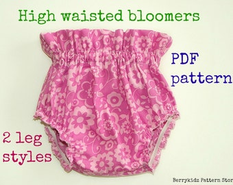 High waisted baby bloomer pattern, Baby diaper cover pattern, Ruffle bloomer pattern, Baby pants pattern  (S126)