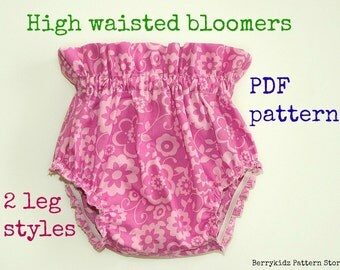 High waisted baby bloomer pattern, Baby diaper cover pattern, Ruffle bloomer pattern, Girls bloomer pattern pdf, Baby pants pattern  (S126)