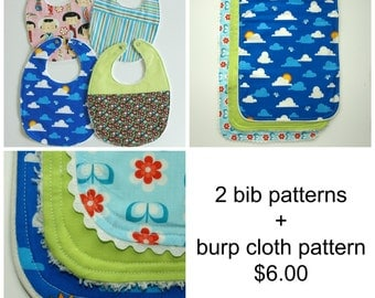 Sewing Baby patterns, Baby Burp Cloth pattern, Baby patterns (S114+S115) - 2 bib patterns + burp cloth pack